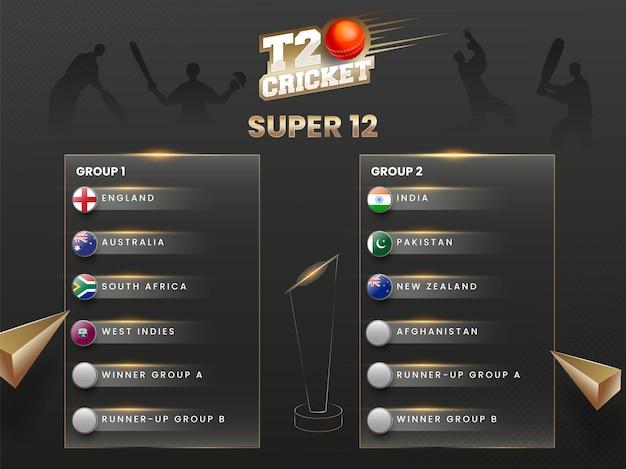 T20 cricket world cup super 12 gruppo primo e secondo elenco su sfondo nero giocatore silhouette.