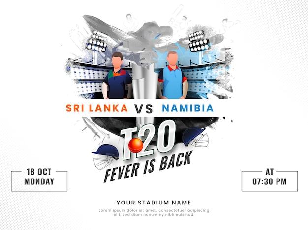 La febbre t20 è tornata il concetto con la squadra partecipante dello sri lanka vs namibia di giocatori di cricket senza volto e coppa del trofeo d'argento 3d su sfondo dello stadio effetto pennello.