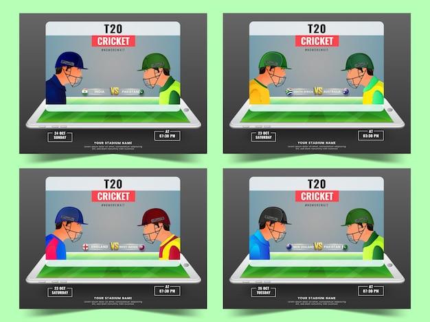 T20 live cricket match show basato sul design del poster con i giocatori dei paesi partecipanti in quattro opzioni.