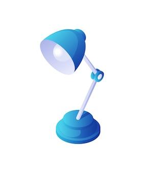 Lampada da tavolo orientabile isometrica. articolo elettrico per uso domestico con piede bianco e piedistallo blu. illumina l'arredamento del desktop retrò con luci calde. lettura e funzionamento a luce soffusa non brillante.