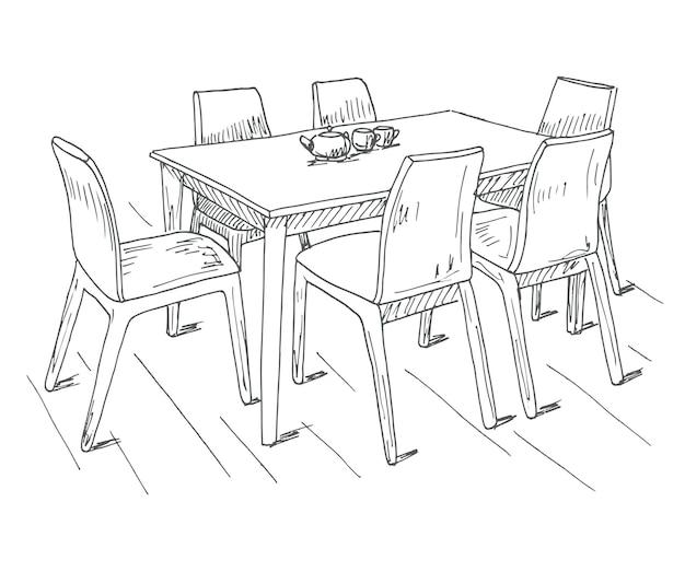 Tavolo e sedie. sul tavolo vaso di fiori. illustrazione vettoriale. disegnato a mano.