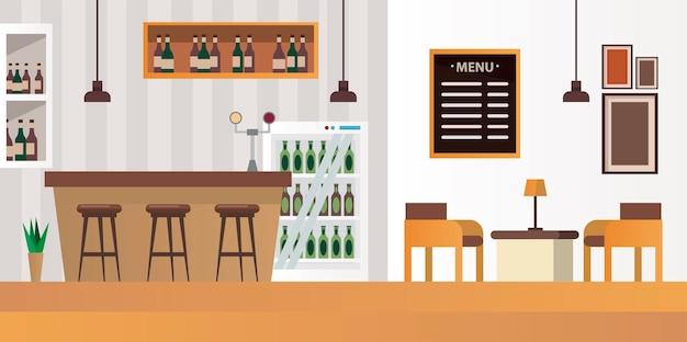 Tavolo e sedie con scena ristorante bar