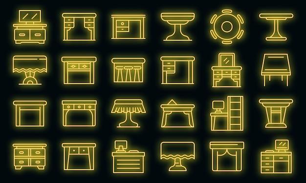 Icone della tabella impostate. contorno set di icone vettoriali da tavolo colore neon su nero