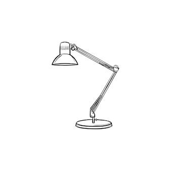 Icona di doodle di contorno disegnato a mano lampada da tavolo. illustrazione di schizzo vettoriale lampada da tavolo regolabile per stampa, web, mobile e infografica isolato su priorità bassa bianca.