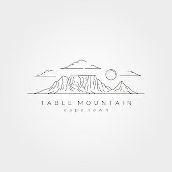 Disegno dell'illustrazione del simbolo di vettore di arte della linea del paesaggio della montagna della tavola, stile di arte della linea del parco nazionale di città del capo