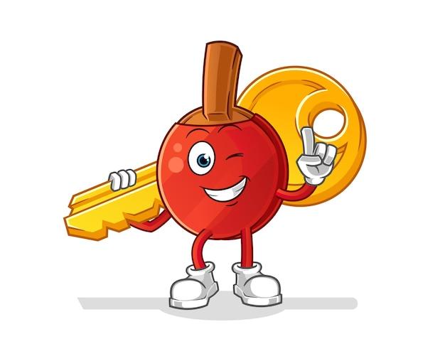 La mazza da ping pong porta la mascotte chiave. cartone animato