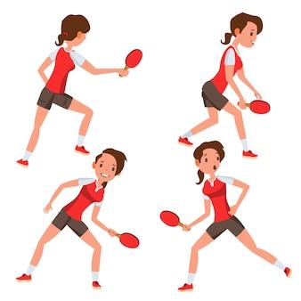Set di caratteri del giocatore femminile di ping-pong