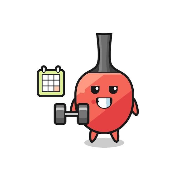 Cartone animato mascotte racchetta da ping pong che fa fitness con manubri, design in stile carino per t-shirt, adesivo, elemento logo