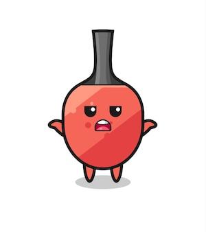 Personaggio mascotte della racchetta da ping pong che dice non lo so, design in stile carino per maglietta, adesivo, elemento logo