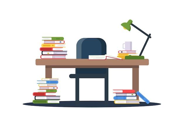 Tavolo con illustrazione piana di pile di libri. enciclopedie impilate, dizionari sulla scrivania, lampada retrò vicino a copertina rigida aperta. mobili da biblioteca, stanza vuota. autoeducazione, apprendimento, acquisizione di conoscenza