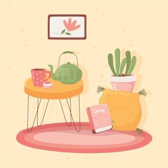 Tavolo con tazza teiera e candela, illustrazione stile cartoon hygge
