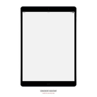 Colore nero tablet con screen saver vuoto isolato su sfondo bianco. mockup di dispositivo realistico e dettagliato
