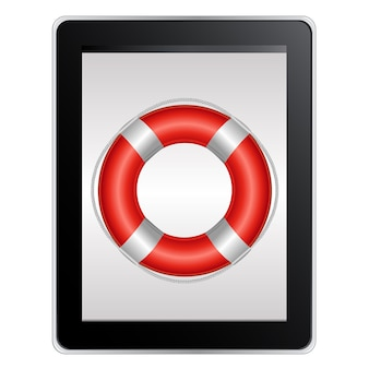 Computer tablet con salvagente, isolato su sfondo bianco,