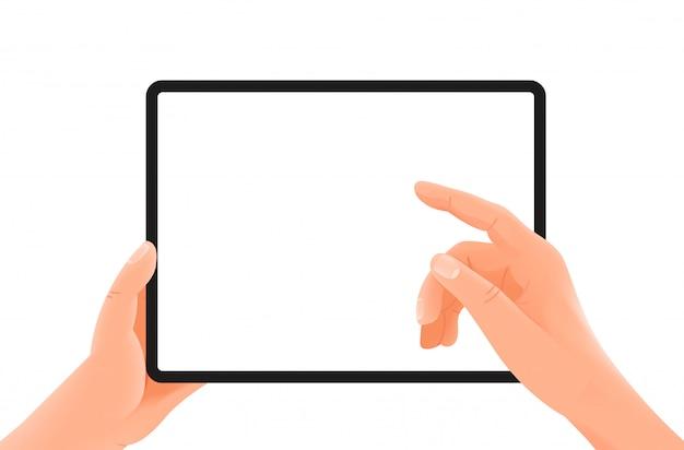 Tablet nelle mani. dito che preme il pulsante. modello di vettore isolato su bianco