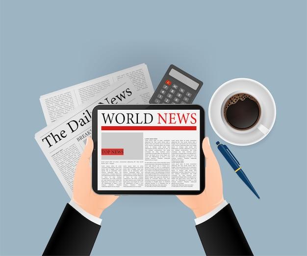 Illustrazione dell'icona del tablet. giornale online, banner aziendale per qualsiasi scopo. illustrazione. icona di affari.