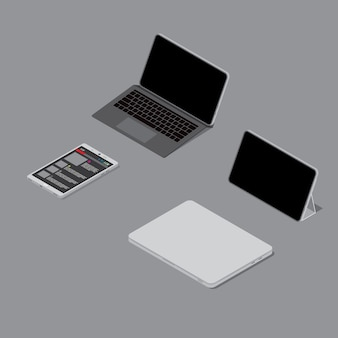Tablet notebook smartphone tutti e 4 i computer portatili su grigio scuro