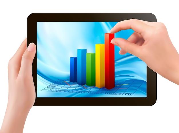 Schermo del tablet con grafico e una mano Vettore Premium