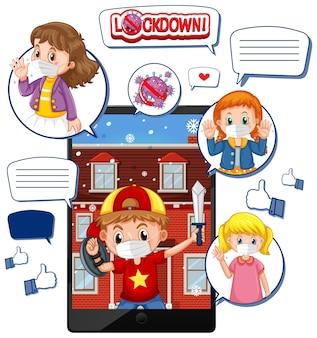 Videochiamata tablet su blocco e corona virus con l'icona dei social media su bianco