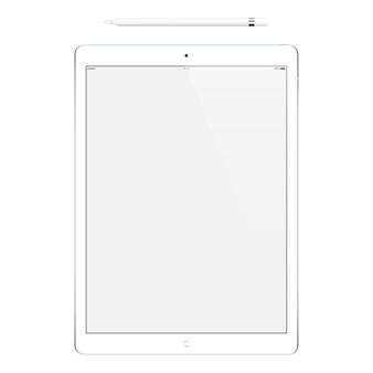 Tablet colore bianco con touch screen vuoto e matita isolato su bianco