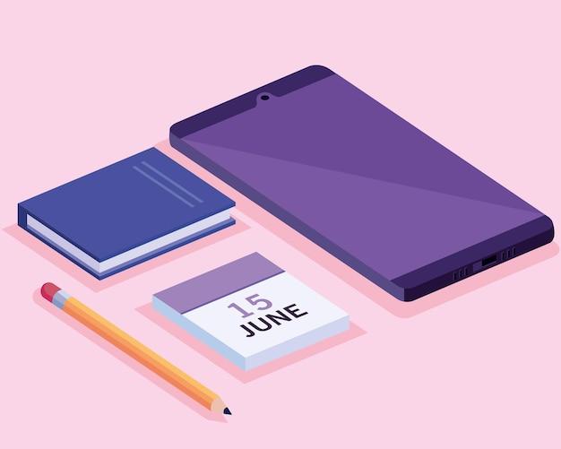 Tablet con calendario e libro area di lavoro isometrica impostare icone illustrazione design
