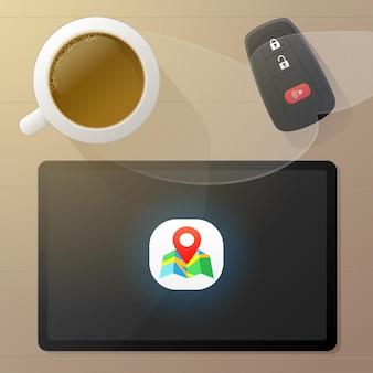 Tablet con app di navigazione per mappe gps. una tazza di caffè caldo e una macchina chiave. vista dall'alto. illustrazione vettoriale nel design del personaggio dei cartoni animati