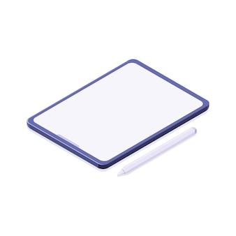 Tablet con penna isolato sfondo bianco