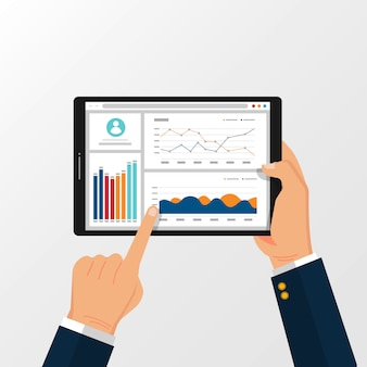 Tablet con grafici statistici per la pianificazione e la contabilità sull'illustrazione delle mani.