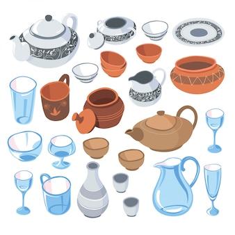 Stoviglie per servire i piatti agli ospiti, set di stoviglie