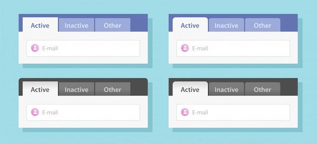 Modello piano dell'illustrazione di stile di vettore stabilito del modello del sito web del menu a schede o del modello a schede dell'interfaccia delle schede