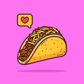 Illustrazione di doodle del fumetto di taco