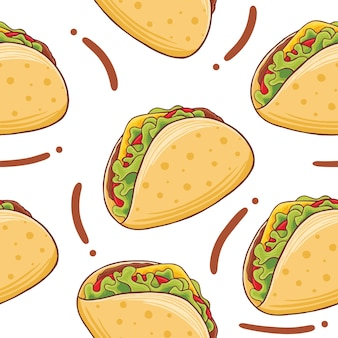 Taco fast food seamless pattern in stile design piatto