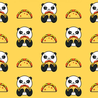 Taco seamless, trama, stampa, superficie con panda, simpatici animali. cibo messicano