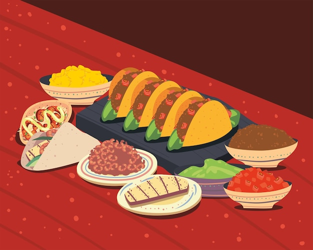 Tacos e ingredienti