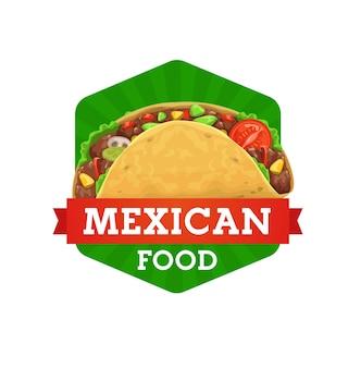 Tacos cucina messicana, ristorante di cibo o icona del caffè bistrot. tacos tradizionali messicani e dell'america latina