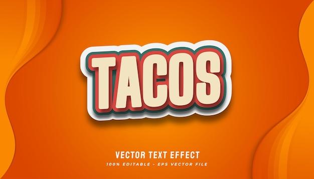 Tacos effetto di testo in stile vintage