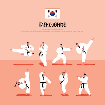 Giocatori di taekwondo in uniformi di taekwondo