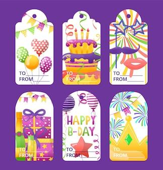 Tag per auguri di compleanno, illustrazione vettoriale. progettazione grafica per set di feste, collezione di carte con regalo, torta, palloncino e corona di compleanno. etichetta di carta, decorazione adesiva.