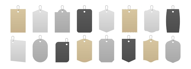 Modello di etichetta. etichette di prezzo realistiche e etichette di cartone per scatole regalo, adesivi di vendita in cartone bianco grigio e kraft su corde. etichetta di carta con illustrazione vettoriale isolato con corda