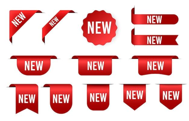 Etichetta adesiva a forma di badge nuovi o in vendita etichetta prodotto nastri angolari rossi e banner modello realistico di seta rossa di lusso