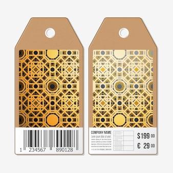 Tag design su entrambi i lati, etichette di vendita in cartone con codice a barre