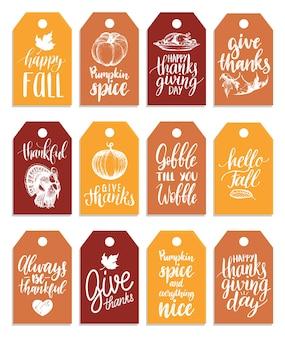 Tag con scritte e illustrazioni per il giorno del ringraziamento. etichette disegnate e scritte a mano.