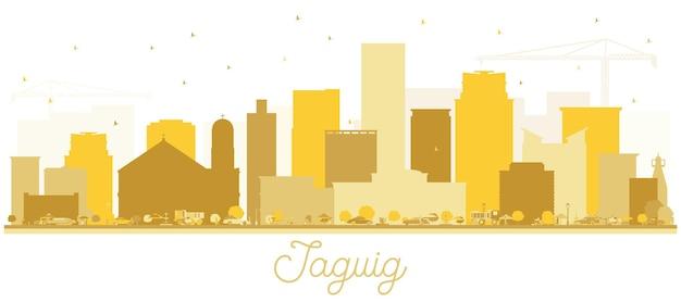 Siluetta dorata dell'orizzonte di taguig filippine. illustrazione di vettore. concetto piatto semplice per presentazione turistica, cartellone. concetto di viaggio d'affari. paesaggio urbano di taguig con punti di riferimento.