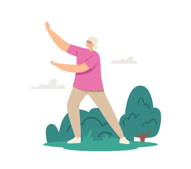 Corsi di tai chi per anziani. personaggio femminile senior che si esercita all'aperto, stile di vita sano, allenamento del corpo
