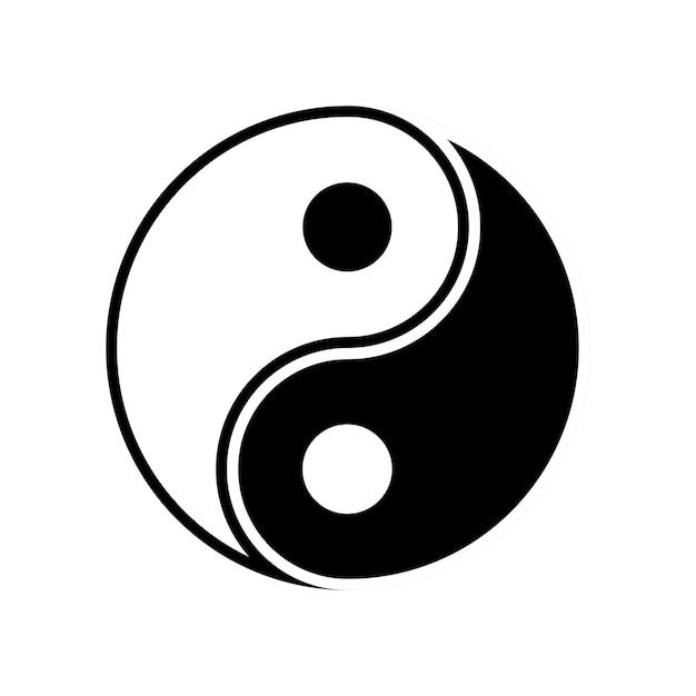 Simbolo taijitu yin yang bianco e nero su sfondo bianco white