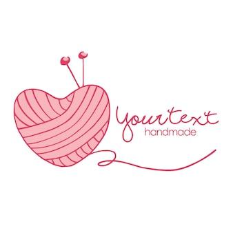 Sarto cucito maglieria moda vintage amore logo design semplice vettore