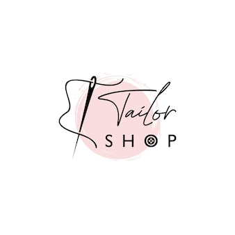 Personalizzare lo stile di iscrizione del logo del negozio con il modello vettoriale dell'ago