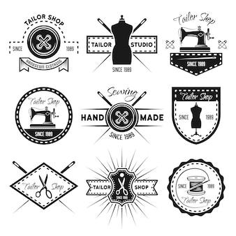 Insieme del negozio del sarto delle etichette, dei distintivi, degli emblemi e dei marchi monocromatici isolati su bianco