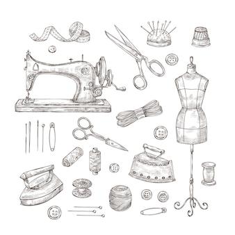 Sartoria. schizzo di strumenti da cucire materiali vintage vestiti cucito industria tessile cuciture cucito artigianato set