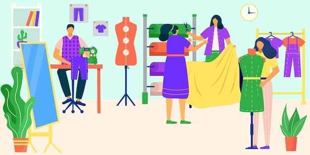 Lavoro su misura con illustrazione vettoriale di tessuto persone piatte moda sarta personaggio progettato abbigliamento...