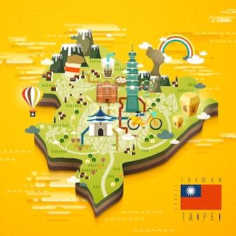 Mappa di viaggio famose attrazioni di taipei